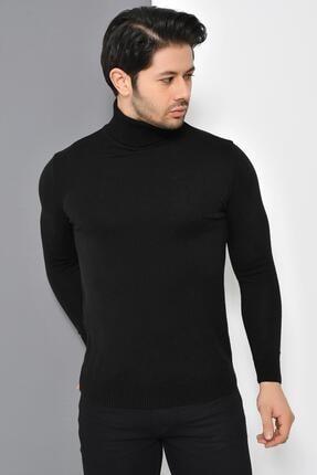 Tena Moda Erkek Siyah Tam Balıkçı Yaka Basic Triko Kazak 1