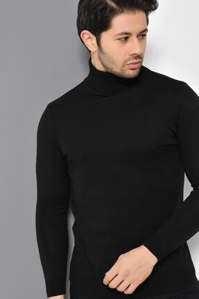 Tena Moda Erkek Siyah Tam Balıkçı Yaka Basic Triko Kazak 2