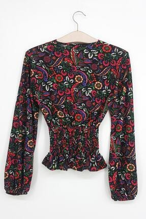 Tena Moda Kadın Fuşya Örme Crep Gipeli Bluz 1