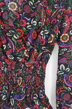 Tena Moda Kadın Fuşya Örme Crep Gipeli Bluz 2