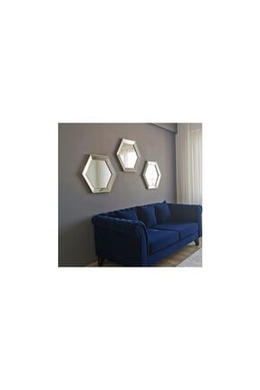 Vivense Neostill- 3lü Dekoratif Ayna Altıgen Duvar Salon Boy 3a405 2