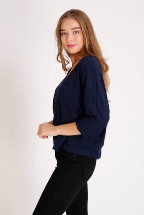 Zechka Kadın Lacivert Yarasa Kol Bluz zck081 4