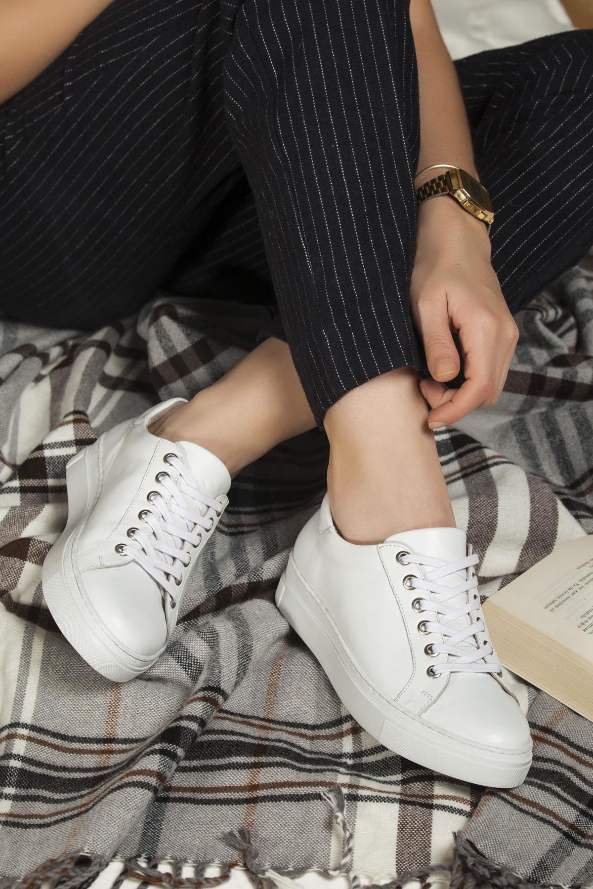 Deripabuc Hakiki Deri BEYAZ Kadın Deri Sneaker