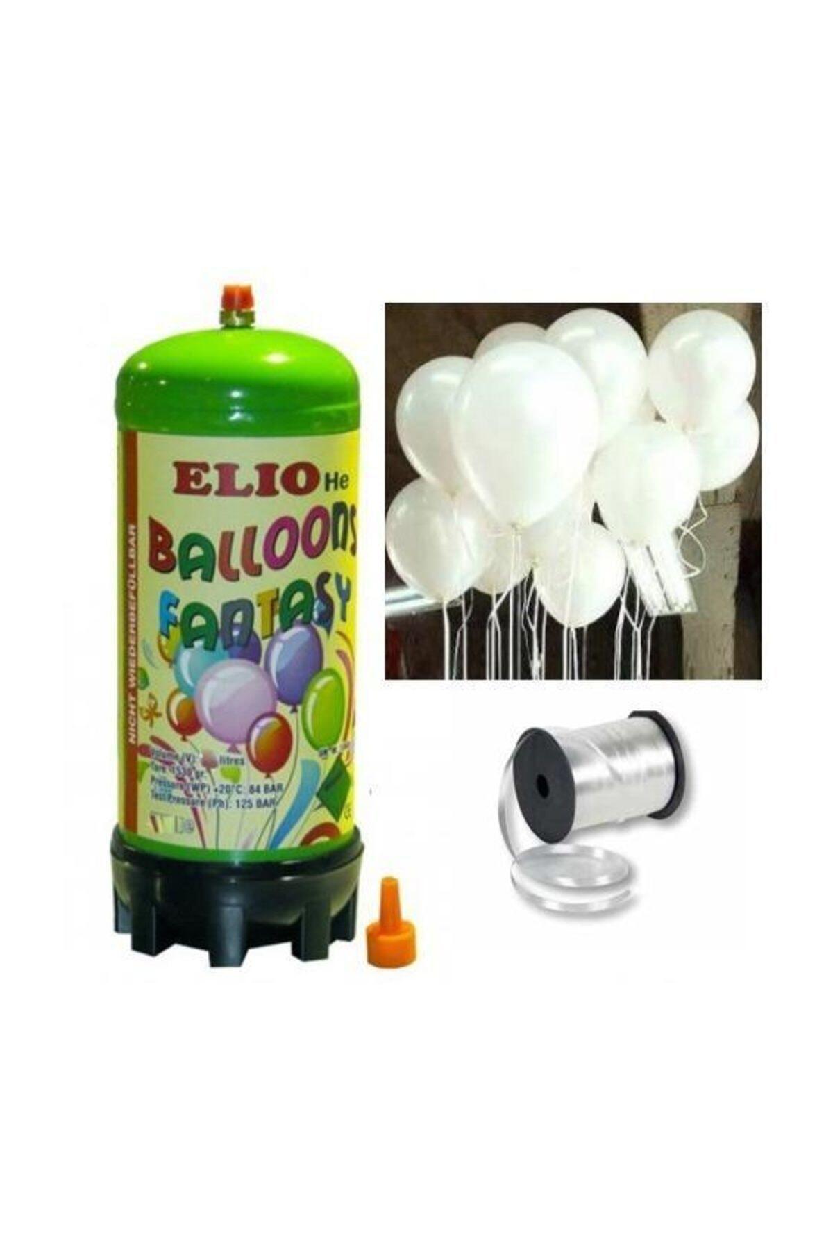 Helyum Gazı Tüp + 20 Adet Parlak Beyaz Uçan Balon + Ipi