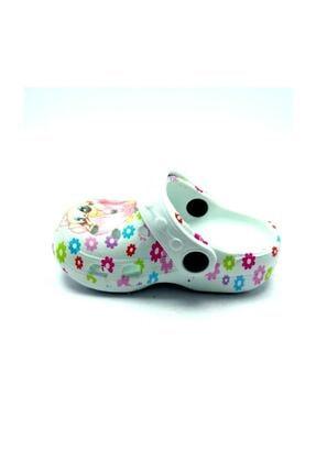 Gezer Kız Çocuk Beyaz Çiçekli Kaydırmaz Havuz Deniz Terlik Sandalet 1