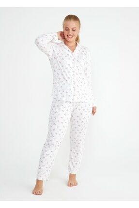 Suwen Kadın Ekru Young Mother Maskulen Pijama Takımı 3