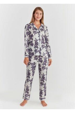 Suwen Kadın Mor Baskılı Crystal Maskulen Pijama Takımı 0