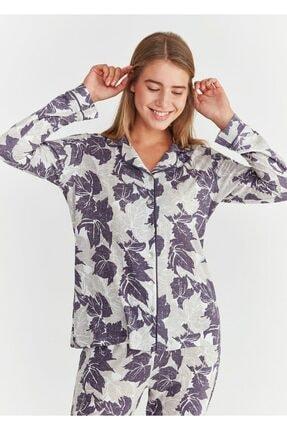 Suwen Kadın Mor Baskılı Crystal Maskulen Pijama Takımı 1