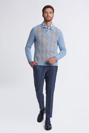 Hemington Erkek Açık Mavi Baklava Desen Polo Yaka Saf Kaşmir  Kazak 1