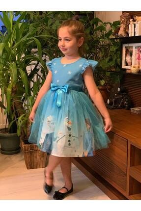 Buse&Eylül Bebe Kız Çocuk Mavi Tüllü Elsa Elbise 0