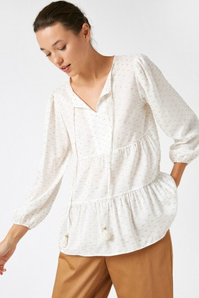 Koton Kadın Sarı Uzun Kollu Bağlama Detaylı Bluz 1KAK68719CW 0