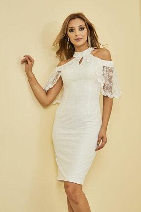 Mangoli Butik Kadın Beyaz Önü Pencere Detaylı Düşük Omuz Arkası Gizli Fermuar Kapama Astarlı Dantel Elbise 2
