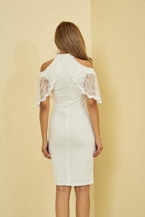 Mangoli Butik Kadın Beyaz Önü Pencere Detaylı Düşük Omuz Arkası Gizli Fermuar Kapama Astarlı Dantel Elbise 3