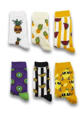 Socksarmy Unisex Meyve Desenli 6'lı Ahşap Kutu Renkli Çorap Seti 1