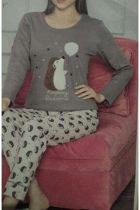 BOYRAZ Kadın Kahverengi Kirpi Pijama Takımı 0