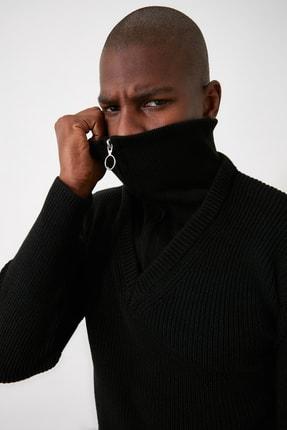 TRENDYOL MAN Siyah Erkek Fermuarlı Yarım Balıkçı Yaka Geniş Kalıp Triko Kazak TMNAW21KZ2067 2