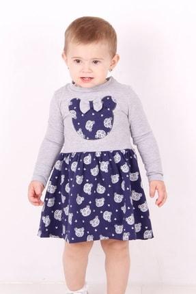 Picture of Kız Bebek Gri Ayıcık Baskılı Elbise