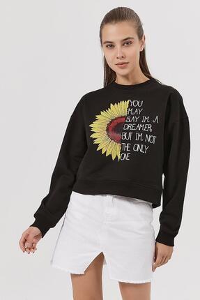 Pattaya Kadın Siyah Ayçiçeği Baskılı Örme Sweatshirt P20w-4166 0