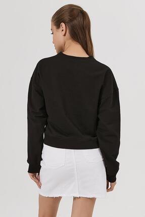 Pattaya Kadın Siyah Ayçiçeği Baskılı Örme Sweatshirt P20w-4166 3