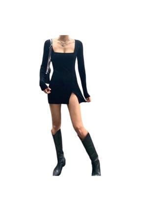 KATİBEM BUTİK Satıcısı Banabu Olan Kadın Siyah Yırtmaçlı Elbise 3
