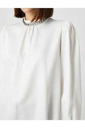 Koton Kadın Ekru Uzun Kollu Zincir Detayli Bluz 4