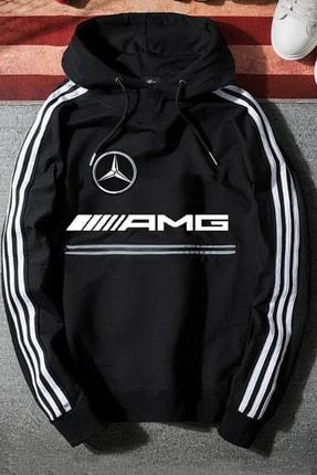 WEST BULLS Unisex Siyah Mercedes Amg Kapüşonlu Baskılı Oversize Sweatshirt 0