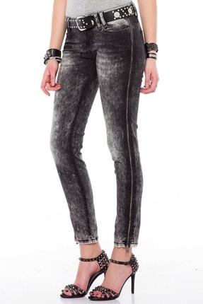 Cipo&Baxx Kadın Siyah Fermuar Detaylı Yıkamalı Pantolon 2