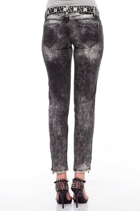 Cipo&Baxx Kadın Siyah Fermuar Detaylı Yıkamalı Pantolon 4