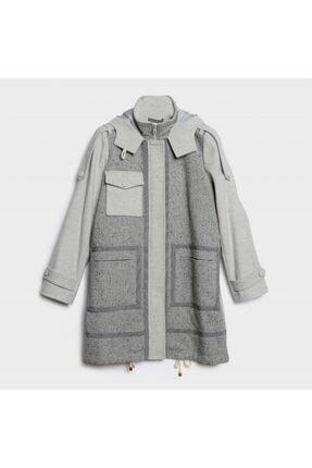 Picture of Kadın Açık Gri Melanj Apolet Detaylı Palto