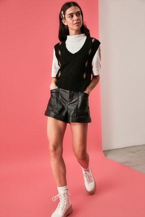 TRENDYOLMİLLA Siyah Nakışlı Triko Süveter Bluz TWOAW21BZ1561 2