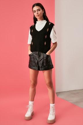 TRENDYOLMİLLA Siyah Nakışlı Triko Süveter Bluz TWOAW21BZ1561 3