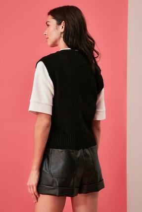 TRENDYOLMİLLA Siyah Nakışlı Triko Süveter Bluz TWOAW21BZ1561 4
