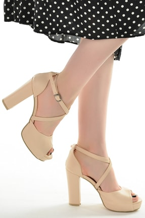Ayakland Kadın Ten Platform Topuklu Ayakkabı 11 cm 3210-2058 1
