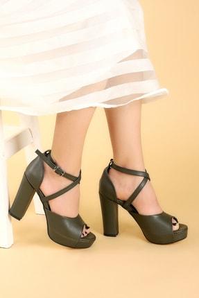 Ayakland Kadın Yeşil Platform Topuklu Ayakkabı 11 cm 3210-2058 1