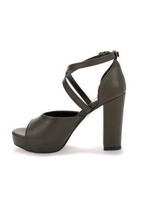 Ayakland Kadın Yeşil Platform Topuklu Ayakkabı 11 cm 3210-2058 4