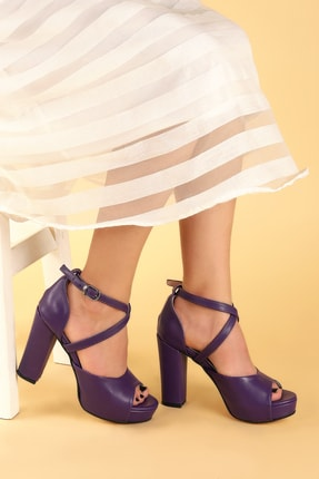 Ayakland Kadın Mor Platform Topuklu Ayakkabı 11 cm 3210-2058 1