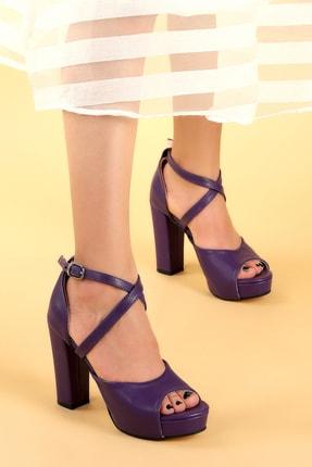 Ayakland Kadın Mor Platform Topuklu Ayakkabı 11 cm 3210-2058 2