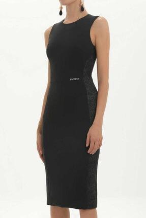 SOCIETA - Simli Kumaş Mixli Kolsuz Elbise 91452 Siyah 1
