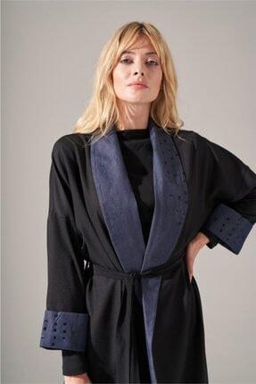 Mizalle Kadın Siyah Denim Şal Yaka  Kimono 3