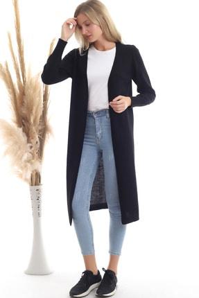 Devinka Kadın Siyah Mevsimlik Uzun Triko Hırka 2