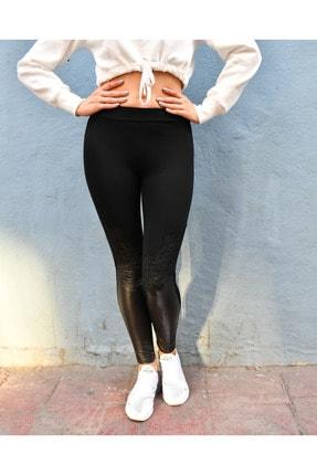 Grenj Fashion Siyah Derili Güpür Detaylı Toparlayıcı Yüksek Bel Tayt 1