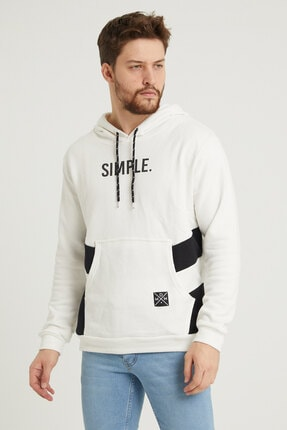 MODAMESTO Beyaz Kapüşonlu Baskılı Panelli Kanguru Cep Sweatshirt 3