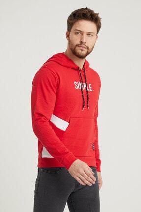MODAMESTO Kırmızı Kapüşonlu Baskılı Panelli Kanguru Cep Sweatshirt 2