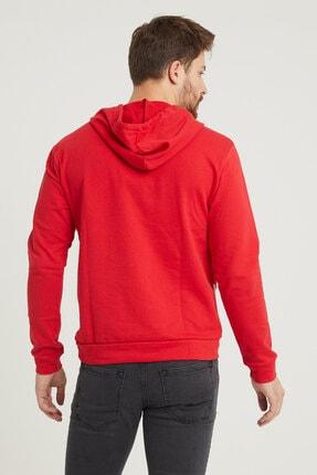 MODAMESTO Kırmızı Kapüşonlu Baskılı Panelli Kanguru Cep Sweatshirt 4