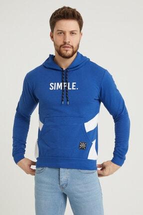 MODAMESTO Mavi Kapüşonlu Baskılı Panelli Kanguru Cep Sweatshirt 0