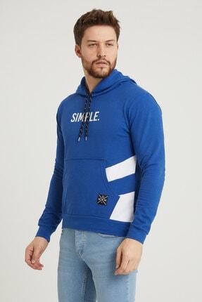 MODAMESTO Mavi Kapüşonlu Baskılı Panelli Kanguru Cep Sweatshirt 1