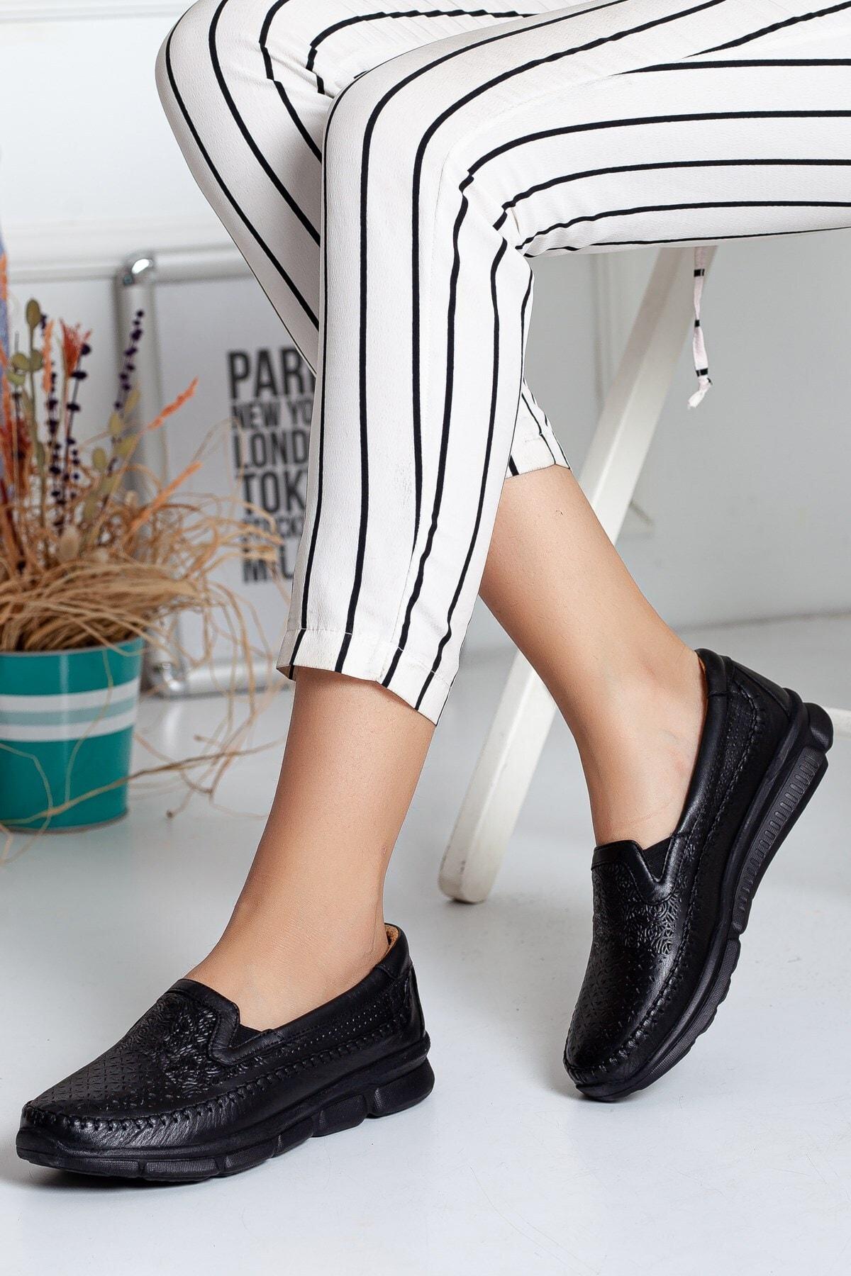 Dilimler Ayakkabı Hakiki Deri Ortopedi Siyah Kadın Günlük Ayakkabı
