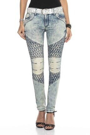Cipo&Baxx Kadın Mavi Taşlı Nakışlı Skinny Kot Pantolon 1