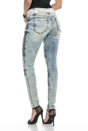 Cipo&Baxx Kadın Mavi Taşlı Nakışlı Skinny Kot Pantolon 3