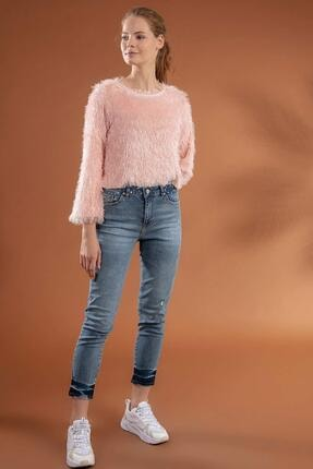 Pattaya Kadın Slim Boyfriend Taşlı Paça Detaylı Kot Pantolon 10275 1